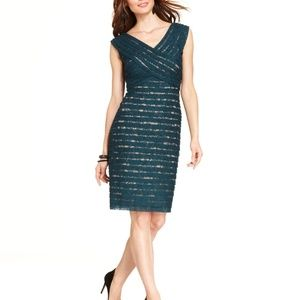 Adrianna Papell Shutter Pleat Lace Dress 16